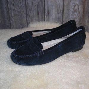 Michael Kors Black Suede Leather Penny Loafer Flat